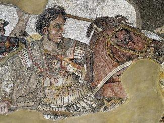 Pittoresca illustrazione di Alessandro Magno e Bucefalo