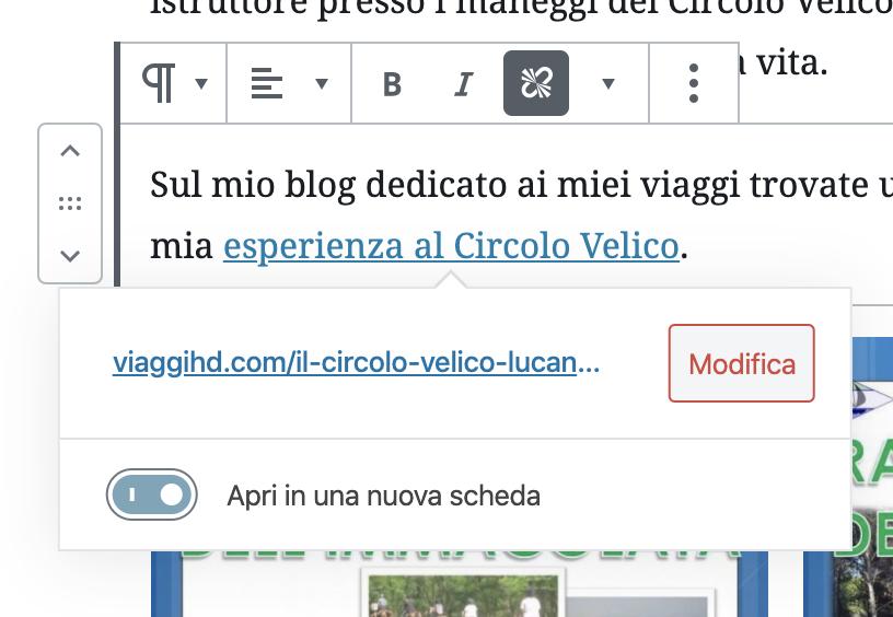 Screenshot inserire un link nell'articolo